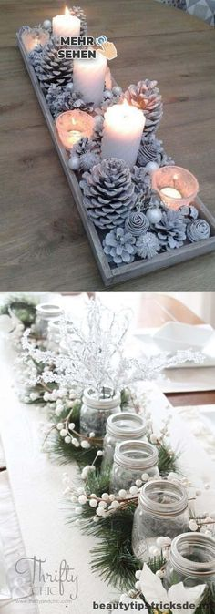 27 gorgeous & easy DIY Thanksgiving and Christmas table decorations & centerpieces! Most can be made in less than 20 minutes, from things you already have! - A Piece of Rainbow diy 27 Gorgeous DIY Thanksgiving & Christmas Table Decorations & Centerpieces Noel Christmas, All Things Christmas, Christmas Ornaments, Simple Christmas, Christmas Ideas, Christmas Candles, Christmas 2019, Christmas Music, Christmas Movies