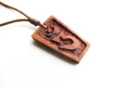 #yogajewelry Sanskrit OM wooden necklace wood carving by NikibarsNatureArt