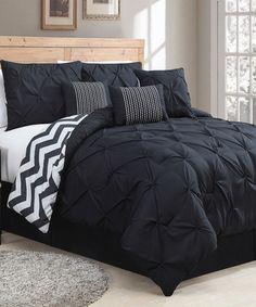 Love this Black & White Ella Pinch Comforter Set on #zulily! #zulilyfinds