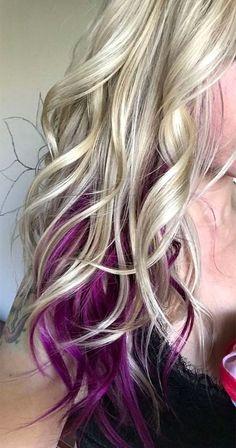 Hair hair peekaboo hair blonde hair t Curly Balayage, Blonde Ombre Hair, Blonde Hair With Highlights, Ombre Hair Color, Blonde Color, Cool Hair Color, Curly Blonde, Hair Colour, Purple Hair With Blonde