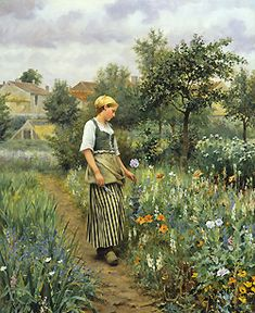 Picking Poppies by Daniel Ridgway Knight - 32 x 26 inches Signed and inscribed Paris american french expatriate expatriot genre garden peasant