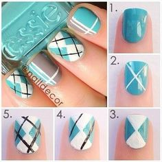Find trendy DIY nail art tutorials for all skill levels. Now you can learn how to get creative manicured nails with step-by-step DIY nail art picture guides. Argyle Nails, Blue Nails, Diy Plaid Nails, Plaid Nail Art, Maroon Nails, Argyle Socks, Chevron Nails, Green Nails, 3d Nails