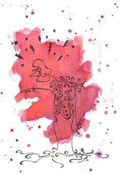 Verdict - Dessin original par foO dessin improvisé date : Plume encre de chine aquarelle rouge feuille aquarelle : 325 gr/m2 format :17x24 cm - Dessin automatique en volutes d'encre. dessin auquarelle et plume par TillyFoO . ❤❤❤❤❤❤