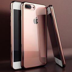 Para iphone 7 case galvanoplastia recubrimiento de goma de lujo ultra delgada de tpu cajas del teléfono suave para iphone 5 5s 6 6 s 7 plus case cubierta