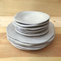 Handmade Ceramic Plates - Irregular Dinner and Salad Plates - Ceramic Dinnerware - Pottery Handmade - Handmade Ceramic Plates Irregular Dinner and Salad Plates Rustic Dinnerware, White Dinnerware, Dinnerware Sets, Clay Plates, Ceramic Plates, Pottery Plates, Ceramic Pottery, Bowls, Cerámica Ideas