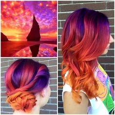 New hair color crazy ombre short Ideas Pretty Hair Color, Ombre Hair Color, Purple Hair, Hair Colour, Pink And Orange Hair, Yellow Hair, Orange Yellow, Funky Hairstyles, Pretty Hairstyles