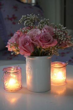 romantic pink roses and candles by ℓυηα мι αηgєℓ ♡ Bougie Partylite, Bougie Candle, Romantic Candles, Beautiful Candles, Rose Pastel, Candle In The Wind, Rose Cottage, Candle Lanterns, Votive Candles