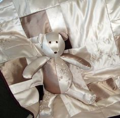 Repurposed Wedding Dress. Baby Blanket & Bear--I like the fabric; might get one of those scary wedding dresses from goodwill to use