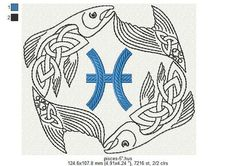 Zodiac sign pisces machine embroidery design 4 от Polskyembroidery