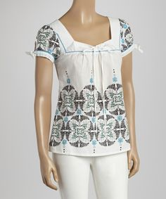 Off-White & Turquoise Floral String-Tie Square Neck Top   zulily