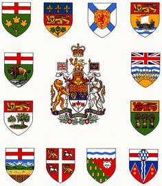 Canada - Coat of Arms (Canada) Canadian Red Ensign, I Am Canadian, Canadian History, Canadian Flags, Canadian Coat Of Arms, St Edward's Crown, Canadian Symbols, New Zealand Flag, Vaporwave Wallpaper