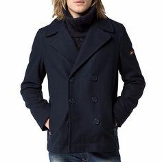 Caban Tommy Hilfiger Homme modèle Jaden en laine bleu marine