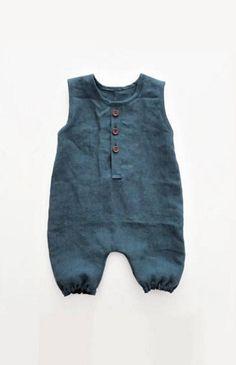 Handmade Unisex Linen Baby Romper | moonroomkids on Etsy