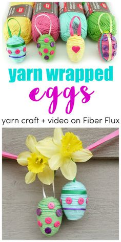 Yarn Wrapped Eggs, Tutorial + Video from Fiber Flux Diy Crafts For Girls, Easy Diy Crafts, Yarn Crafts, Knitting Designs, Crochet Designs, Crochet Patterns, Crochet Projects, Crochet Tutorials, Craft Videos