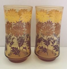 Floral Amber Glasses Vintage Libbey Tumblers Drinking Glass Set Flower Yellow