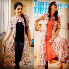 Latest Mix And Match Long Jacket Designs To Wear With Jeans Kurtis