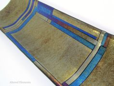 Mosaic Fused Glass Serving Tray Iridized by AlteredElementsGlass