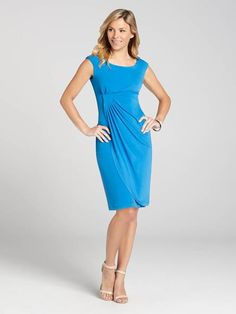"""Laura Petites: for women 5' 4"""" and under. Featuring a beautiful ocean blue colour and key patch detail at the front, this jersey dress exudes confidence and style. Add some bangles for a cool Summer look....4010101-0612"""