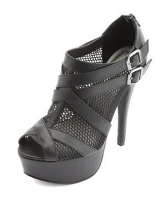 strappy mesh peep toe platform heels Charlotte Russe