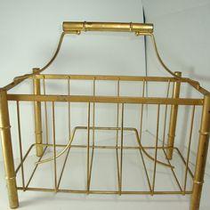 Metal Gold Magazine Rack / Newspaper Rack / by littlewoodenhouse, $32.00