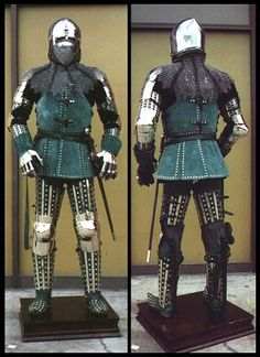 14th century Armor (Italian) Leather covered with Gold trim.  Love that splint armour!