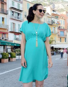 Turquoise Drawstring Maternity Dress | Seraphine