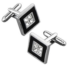 Zodaca Black/ Silver Square with Jewels Cufflink Set