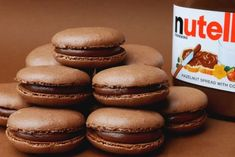 Nutella Macarons (Chocolate Hazelnut French Macarons) : 4 Steps (with Pictures) Nutella Macaroons, Desserts Nutella, French Macaroons, Macarons Chocolate, Chocolate Smoothies, Chocolate Shakeology, Nutella Cookies, Chocolate Cookies, Chocolate Hazelnut
