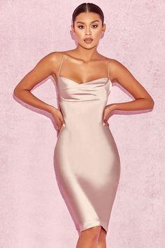 Clothing : Bodycon Dresses : 'Alette' Vestido drapeado de dos piezas en tono champán