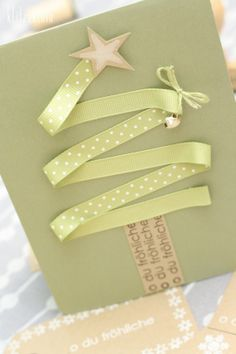 Tarjetas navideñas listón