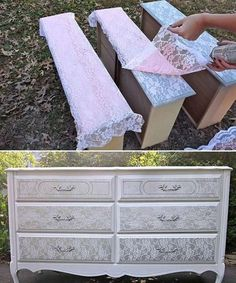 18 Awesome DIY Shabby Chic Furniture Makeover Ideas For Creative Juice Repurposed Furniture Awesome Chic Creative DIY Furniture ideas Juice Makeover shabby Lace Painted Furniture, Repurposed Furniture, Vintage Furniture, Refurbished Furniture, How To Shabby Chic Furniture, Victorian Furniture, Handmade Furniture, Painted Wood, Furniture Projects