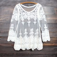 sheer vintage inspired lace top - ivory