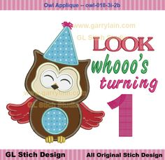 Owl applique Design, boy Machine Embroidery Applique Design, 1st First Birthday, baby kid, 1-9 option, owl-018-3i-2b