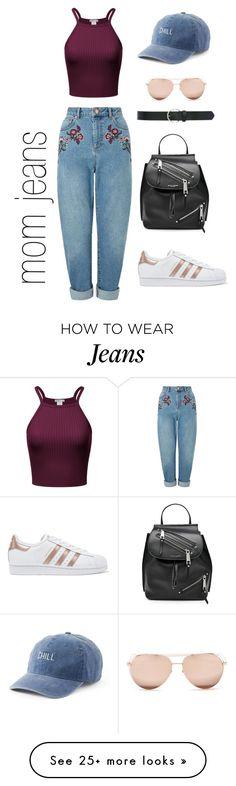 """mom jeans"" by valentina-triulcio on Polyvore featuring Miss Selfridge, adidas Originals, Marc Jacobs, Linda Farrow, SO, M&Co, denim, momjeans and polyvorefashion"