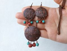 Hey, I found this really awesome Etsy listing at https://www.etsy.com/listing/249855458/egyptian-symbols-pendant-earrings-set