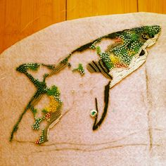 eleanor pigman | Seed Bead Embroidered Shark in Progress