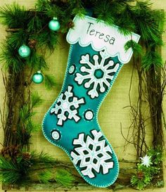 Dimensions Flurries Stocking  - Felt Applique Kit. Contains pre-sorted thread, die-cut felt, needle, and easy instructions with an alphabet. Finished size: 19.