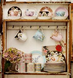 From Selina Lake.  I am a fiend for tea cups and country style.  This showcased collection calls out to my need for more!