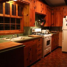 vintage knotty pine kitchen cabinets - google search | ideas for
