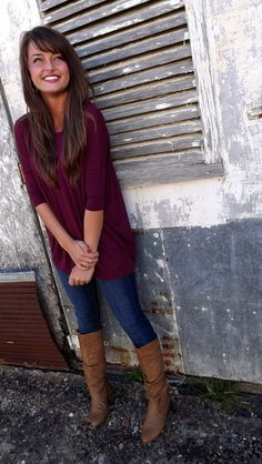 Burgundy 3/4 Sleeve Piko... and other super cute winter clothes.