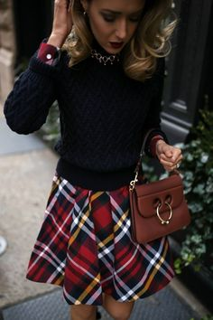 Red tartan plaid shirt dress paired with a navy cable knit sweater, black bow pumps and a brown leather bag {Brooks Brothers, Miu Miu, JW Anderson, holiday style, Christmas style, fashion blogger, street style, holiday party, what to wear to an office holiday party, wear to work, professional style, office party, festive style}