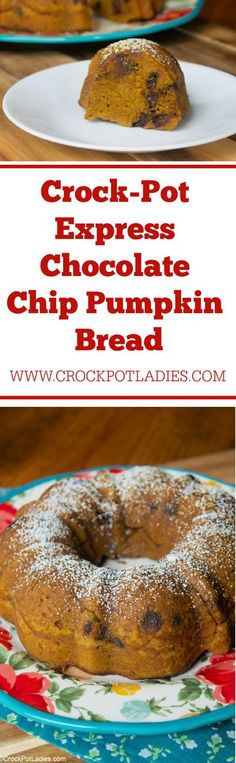 Crock-Pot Express Chocolate Chip Pumpkin Bread - Did you know you can make moist Chocolate Chip Pumpkin Bread in your Crock-Pot Express multi-cooker? Learn how easy it is with this recipe! [Low Sodium & Vegetarian] #CrockPotLadies #CrockPotExpress #CrockPotExpressMultiCooker #PressureCooker #InstantPot #Pumpkin #PumpkinBread #Chocolate #ChocolateChips #Fall #FallRecipes #Winter #WinterRecipes #KidFriendly #FallDesserts #FallSnacks #WinterDesserts #WinterSnacks #EasyRecipes