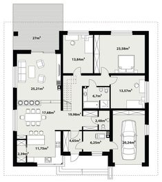 Rzut TP Irysek 2 CE Planer, House Plans, Floor Plans, Construction, How To Plan, Bungalows, Design, Houses, Architecture