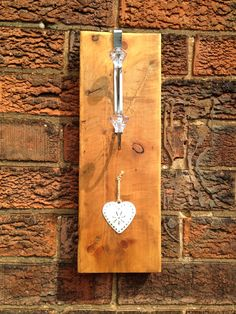 Crystal hook with heart detail on stained wood block Reclaimed Wood Frames, Reclaimed Timber, Handmade Wooden, Handmade Items, South Yorkshire, All You Can, Wood Blocks, Hobbies, Canning