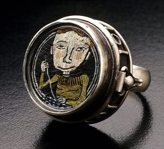 Polymer clay micromosaic ring by Cynthia Toops; metalwork by Chuck Domitrovich.