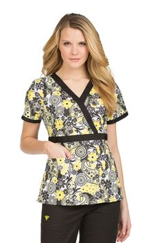 """Med Couture Milan Print Top in """"Rise & Shine"""" from Med Couture Scrubs at Med Couture Scrub Shop"""