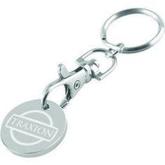 Engraved Trolley Coin with Keychain Attachment