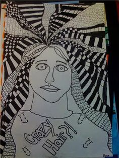 bad hair day or crazy hair day-- art project using lines