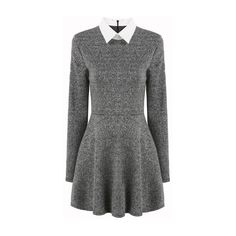 SheIn(sheinside) Grey Contrast Collar Long Sleeve Pleated Dress (£12) ❤ liked on Polyvore featuring dresses, vestidos, grey, grey long sleeve dress, longsleeve dress, long sleeve day dress, pleated dress and short gray dresses