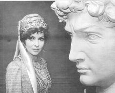 Gina Lollobrigida next to Michelangelo's David